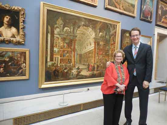 Linda Roth, senior curator of decorative arts, and Oliver Tostmann, European art curator, in the Great Hall Photo by Lee Rosenbaum