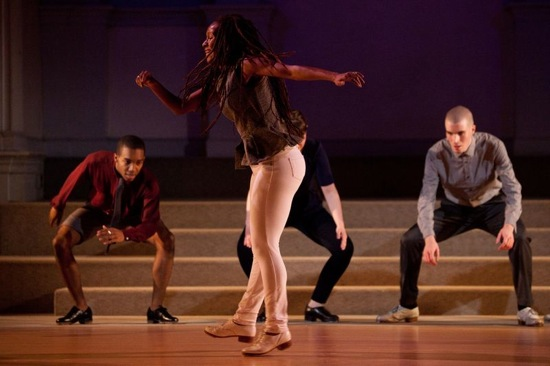 Dormeshia Sumbry Edwards shows her stuff. Visible at back: Byron Tittle (L.) and Warren Craft. Photo: Matthew Murphy