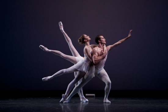 Seth Orza as Balanchine's Apollo with (front to back) Carla Körbes, Maria Chapman, and Lesley Rausch. Photo: Lindsay Thomas