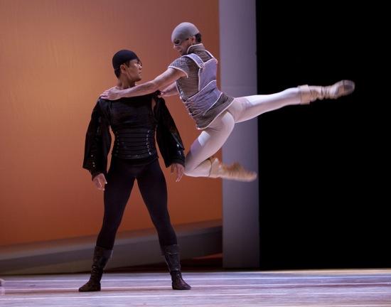 Mercutio (Jonathan Poretta) has at Tybalt (Batkhurel Bold). Photo: Angela Sterling
