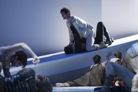Seth Orza (Romeo) strangles Tybalt (Batkhurel Bold). Photo: Angela Sterling
