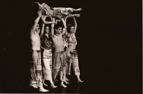 Set and Reset, the original cast: (L to R) Stephen Petronio, Vicky Shick, Randy Warshaw, and Trisha Brown carry Diane Madden. Photo: John Waite
