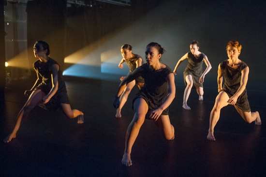 L to R: Angela Curotto, Kristin Schwab, Sumi Clements, Julie McMillan, Meg Weeks in Shift. Photo: Christopher Duggan