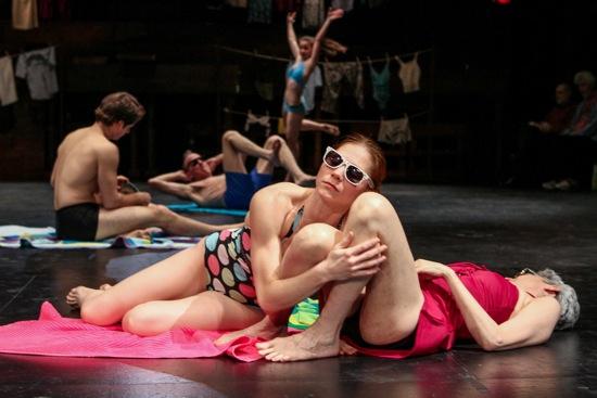 Tamar Rogoff''s Summer's Different. Foreground: Emily Pope-Blackman (L) and Deborah Gladstein. At back (L to R): Brandin Steffensen, Peter Schmitz, and Emma Lee. Photo: Julie Lemberger