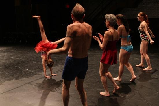 Annabel Sexton-Daldry cartwheels for (L to R) Peter Schmitz, Deborah Gladstein, Emma Lee, Emily Pope-Blackman. Photo: Julie Lemberger