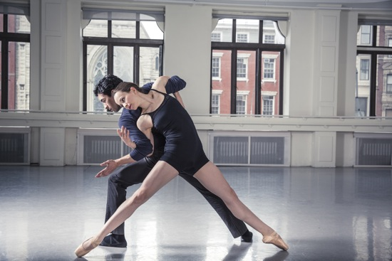 Laura Mead and Justin Flores in Treize en Jeu. Rehearsal photo: Travis McGee