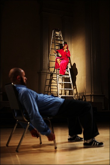 Patricia Noworol Dance Theater in ?Culture. On chair: Patrick Williams Seebacher. On ladder: Noworol. Photo: Aeric Meredith Goujon