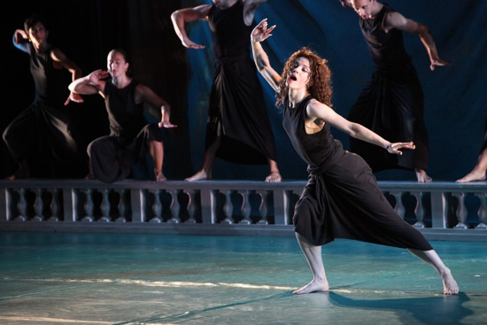 Laurel Lynch as the Sorceress; at the back, her troupe of witches.  Photo: Hilary Scott