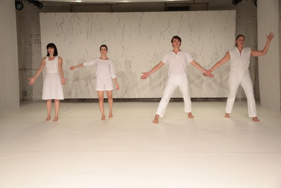 (L to R):  Donna Cicchesi, Tara O'Con, Michael Ingle, and Anna Adams Stark in Megan Sprenger's Flutter. Photo: Madeline Best