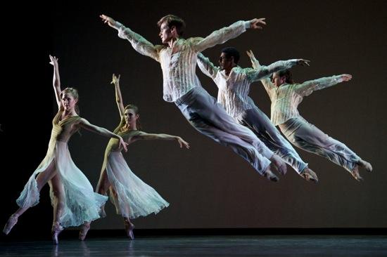 San Francisco Ballet dancers (L to R): Rebecca Rhodes, Alexandra Meyer-Lorey, Luke Willis, Francisco Mungamba, and Benjamin Stewart in Christopher Wheeldon's Ghosts©. Photo: Erik Tomasson