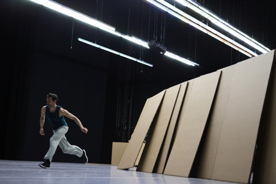Fabrice Mazliah alone with the building blocks of Forsythe's Sider. Photo: Julieta Cervantes