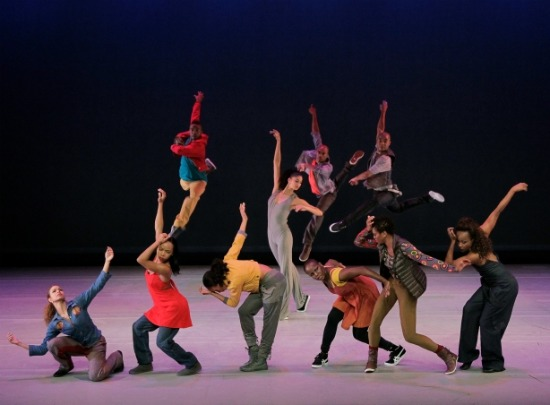The original cast in Rennie Harris's 2011 Home (Alicia Graf Mack center). Photo; Paul  Kolnik