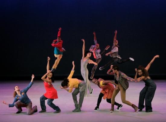 The original cast in Rennie Harris's 2011 Home (Alicia Graf Mack center). Photo; Paul  Kolnik