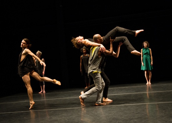 Tere O'Connor's Bleed. Foreground (L to R): SIlas Riener, David Thomson carrying Michael Ingle. At back: Oisín Monaghan, Cynthia Oliver, Heather Olson. Photo: Ian Douglas