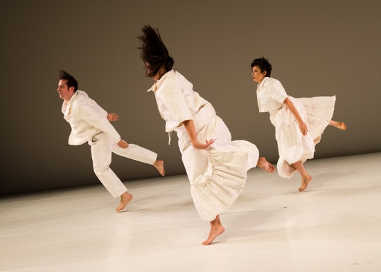 (L to R) Levi Gonzalez, Hristoula Harakas, and Rebecca Serrell Cyr in Donna Uchizono's State of Heads. Photo: Ian Douglas