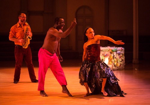 (L to R): Jeff Hudgins, Souleymane Badolo, and Christine Warren in Benon. Photo: Yi-Chun Wu