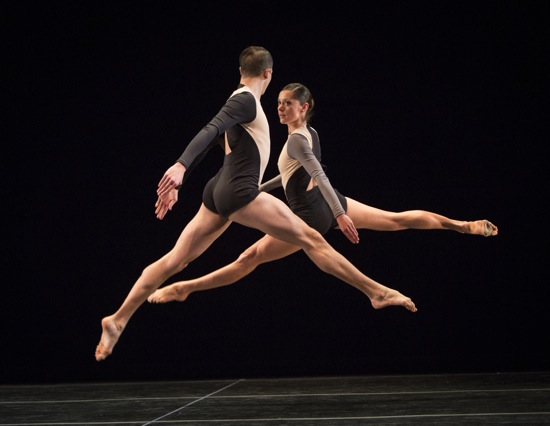 Josh D. Green and Melissa Toogood match leaps in Stephen Petronio's Locomotor. Photo: Yi-Chun Wu
