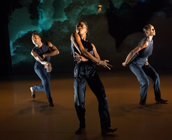 "Kyle Abraham's Hallowed. (L to R) Jeremy ""Jae"" Neal, Tanisha Guy, and Catherine Ellis Kirk. Photo: Yi-Chun Wu"