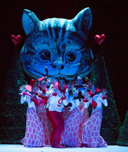 Lewis Carroll's Cheshire Cat wows a pack of cards in Christopher Wheeldon's Alice's Adventures in Wonderland. Photo: Yi-Chun Wu