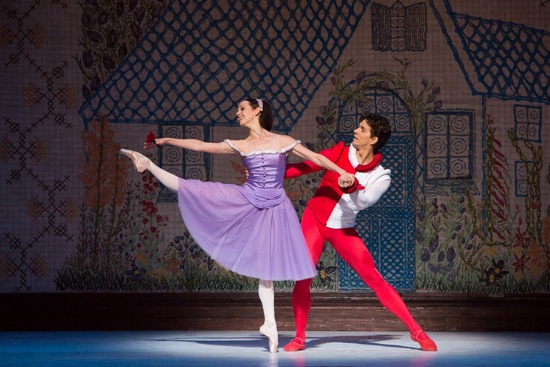 Jillian Vanstone as Alice and Guillaume Coté is the Knave of Heats in the opening night cast of Christopher Wheeldon's Alice's Adventures in Wonderland. Photo: Yi-Chun Wu