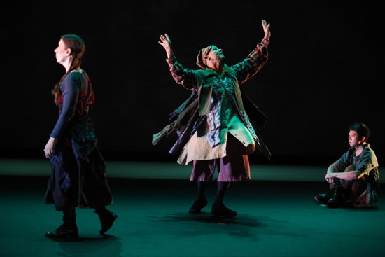 L to R: Meredith Monk, Ellen Fisher, and Sidney Chen in Monk's In Between the Cracks. Photo: Julieta Cervantes