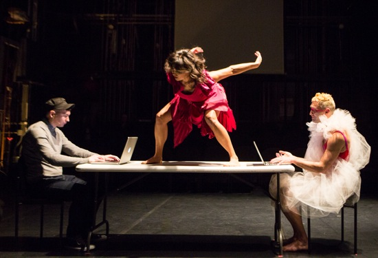 Michele Boulé on table. Seated: Ben Pryor (L) and Sean Donovan. Photo: Yi-Chun Wu