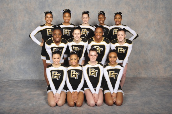 Members of the Burlington Township Cheerleading team.