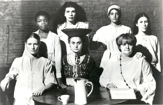 Meredith Monk's 1973 Education of the Girlchild, Part II. Front row (L to R): Sybille Hayn, Coco Pekelis, Lee Nagrin. Back row (L to R): Blondell Cummings, Lanny Harrison, Monica Moseley, Meredith Monk.