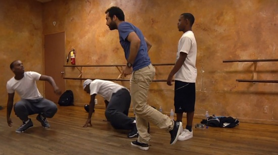 Benjamin Millepied rehearses Lil Buck and two other hip-hop dancers for a Los Angeles project in Dancing is Living: Benjamin Millepied.