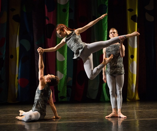 (L to R) Gianni Joseph, Clara Freschi, and Lucas Viallefond in the Cunningham Event at the Joyce Theater. Photo: Yi-Chun Wu