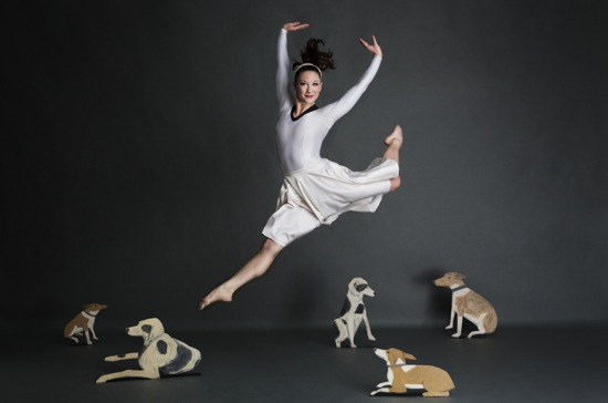 Laura Halzack in Paul Taylor's Diggity, with Alex Katz's dogs. Photo: Whitney Browne