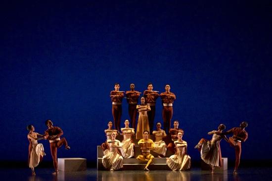 Members of the José Limón Dance Company in Doris Humphrey's Passacaglia and Fugue in C Minor. Standing center: Kristen Foote; seated center: Durrell R. Comedy. Photo: Melanie Futorian