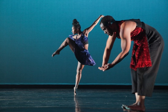 "Coral Dolphin (L) and Keon Thoulouis in ""Exotica"" from Ronald K. Brown's Lessons. Photo: Ayodele Casel"