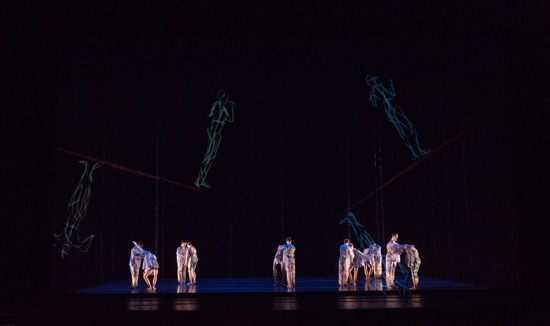 Juilliard dancers and visiting avatars in Merce Cunningham's Biped. Photo: Rosalie O'Connor