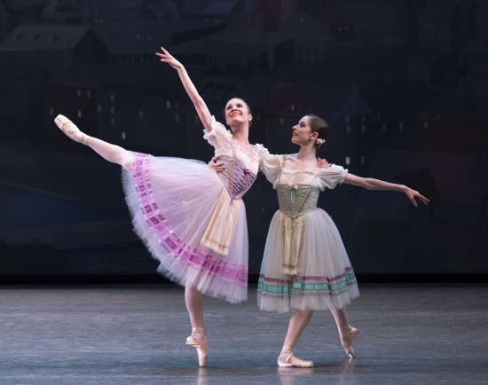 Lauren King (L) and Rebecca Krohn in the Pas de Six from Napoli.  Photo: Paul Kolnik
