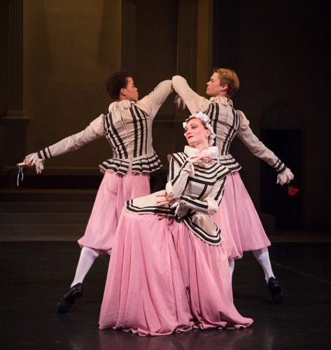 Steven Melendez (L) and Michael Wells woo Amanda Treiber in Frederick Ashton's Capriol Suite. Photo: Yi-Chun Wu