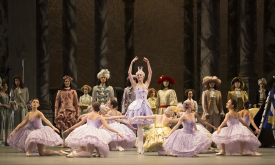 The Prologue of Alexei Ratmansky's production of the Sleeping Beauty for American Ballet theatre. Devon Teuscher as the Lilac Fairy, surrounded by her attendants and backed by the principal fairies' cavaliers. Photo: Rosalie O'Connor