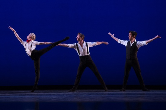 (L to R): Shelby Elsbree, Daniel Ulbricht,  and Jeffrey Cirio in Johan Kobborg's Les Lutins. Photo: Christopher Duggan