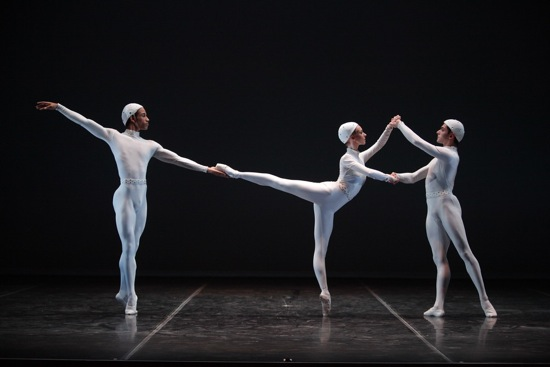 (L to R): Ricardo Rhodes, Victoria Hulland, and Francisco Graziano in Frederick Ashton's Monotones II. Photo: Gene Schiavone