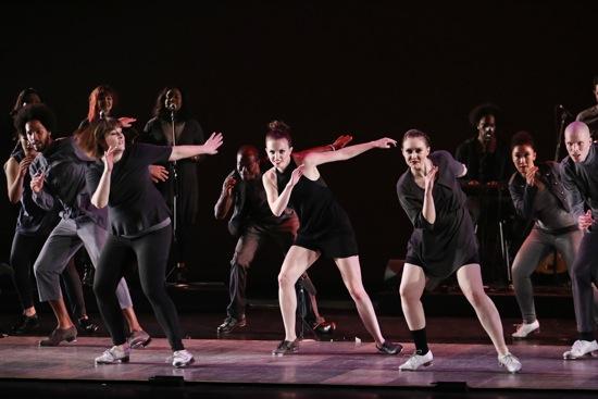 Dorrance Dance in Michelle Dorrance's Myelination: (L to R): Leonardo Sandoval, Megan Bartula, Christopher Broughton, Michelle Dorrance, Elizabeth Burke, Claudia Rahardjanoto, Warren Craft. Photo: Julieta Cervantes