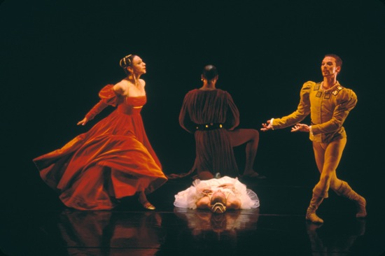 An earlier cast in José Limón's The Moor's Pavane: (Standing, L to R: Carla Maxwell, Carlos Orta, Bradon McDonald; supine: Roxane D'Orleans Juste.