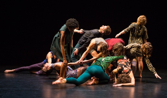 Tere O'Connor's The Goodbye Studies. L to R: Angie Pittman, Simon Courchel, Laurel Snyder (standing); Michael Ingle, Eleanor Hullihan, Lauren Vermilion (bent over); Joey Loto, Natalie Green, Mary Read, Lily Gold (on floor). Photo: Yi-Chun Wu