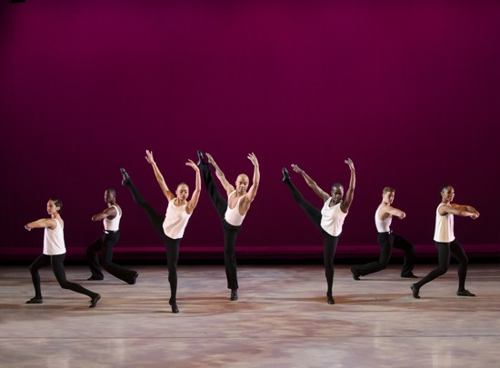 The Alvin Ailey American Dance Theater in Talley Beatty's Toccata. (L to R): Sarah Daley, Samuel Lee Roberts, Linda Celeste Sims, Matthew Rushing, Hope Boykin, Michael Francis McBride, and Demetia Hopkins-Greene. Photo: Paul Kolnik