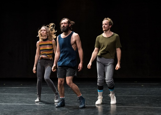 (L to R): Emma Judkins, Nicholas Bruder, and Justin Morrison in Pavel Zuštiak's Custodians of Beauty. Photo: Ian Douglas