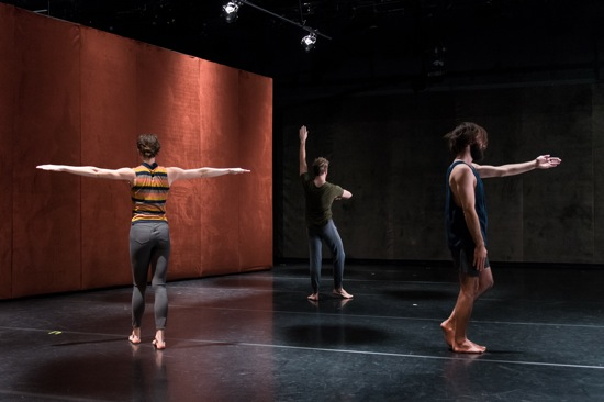 (L to R): The spaces between. Emma Judkins, Justin Morrison, and Nicholas Bruder in Pavel Zuštiak's Custodians of Beauty. Photo: Ian Douglas