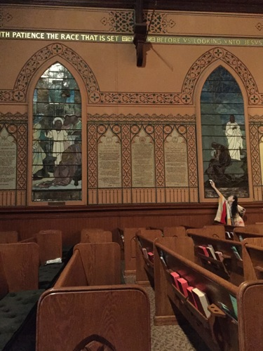 Eiko in the Sanctuary of Middle Collegiate Church. Photo: Lily Cohen