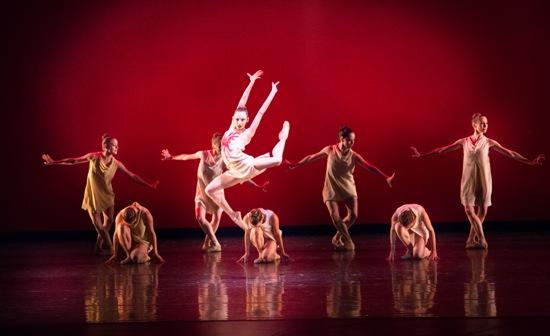 Nathalia Arja and seven Miami City Ballet women in Alexei Ratmansky's Symphonic Dances. Photo: Sasha Iziaev