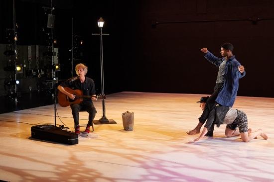 Tiffany Mills' Should We Go. Peter Whitehead (L) and Kyle Marshall astride Robert Mark Burke. Photo: Rachel Neville