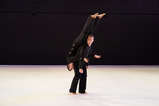 William Tomaskovic (upside down) and Derek Crescenti of Ten Hairy Legs in David Parker's Slapstuck. Photo: Rachel Neville