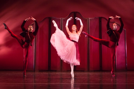 The Sarasota Ballet in Frederick Ashton's Valses Nobles et Sentimentales. (L to R): Ricardo Graziano, Danielle Brown, and Jamie Carter. Photo: Yi-Chun Wu